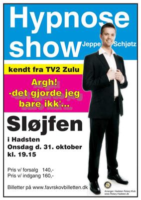 Velgørenhedsarrangement fra Hadsten Rotary Klub: Hypnose Show, kendt fra TV2 Zulu, kommer til Hadsten