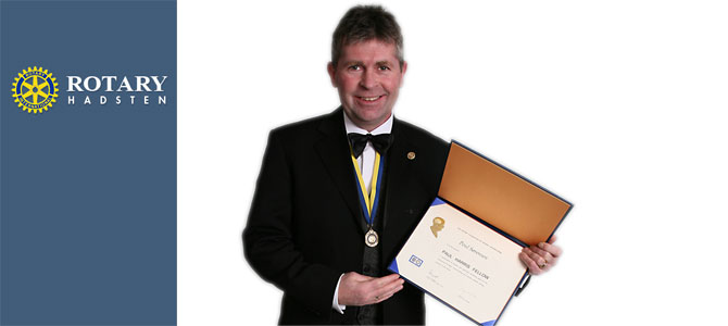 Poul Sørensen ved den årlige Charterfest lørdag d. 21. feb. med Poul Harris Fellow diplom og medalje.